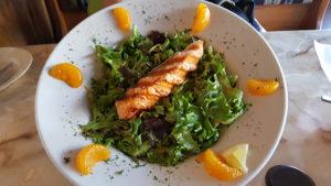Grilled Salmon Salad with Blood Orange Shallot Vinaigrette